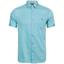 Buy Ted Baker Tirlee Geo Print Short Sleeve Shirt, Teal Online at johnlewis.com