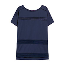 Buy Violeta by Mango Openwork Trim T-Shirt, Navy Online at johnlewis.com