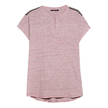 Buy Violeta by Mango Metal Detail T-Shirt, Dark Red Online at johnlewis.com