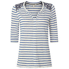 Buy White Stuff Linen Paradise Stripe T-Shirt, Blue Online at johnlewis.com