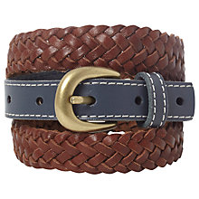 Buy White Stuff Botany Weave Belt, Blue Online at johnlewis.com