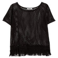 Buy Mango Fringed Openwork T-Shirt, Black Online at johnlewis.com