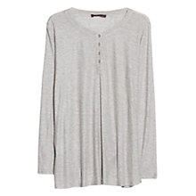 Buy Violeta by Mango Button Linen Blend T-Shirt, Light Pastel Grey Online at johnlewis.com