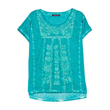 Buy Violeta by Mango Cotton Tie-Dye Tee, Turquoise Online at johnlewis.com
