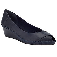 Buy John Lewis Imogen Leather Peep Toe Wedges, Navy Online at johnlewis.com