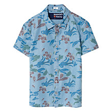Buy Mango Kids Short Sleeve Floral Print Denim Shirt, Blue Online at johnlewis.com