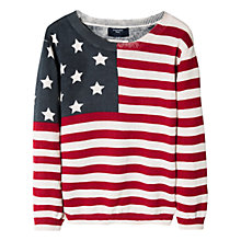 Buy Mango Kids Boys' Flag Print Jumper, Ecru/Multi Online at johnlewis.com