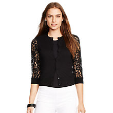 Buy Lauren Ralph Lauren Lace Sleeve Cardigan, Black Online at johnlewis.com