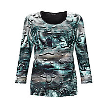 Buy Gerry Weber Stripe Burnout T-shirt, Green Online at johnlewis.com