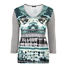 Buy Gerry Weber Printed Jersey Tee, Grey/Green Online at johnlewis.com