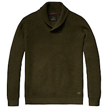Buy Scotch & Soda Shawl Collar Jumper, Moss Green Melange Online at johnlewis.com