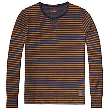 Buy Scotch & Soda Grandad Stripe Long Sleeve T-Shirt, Navy/Orange Online at johnlewis.com