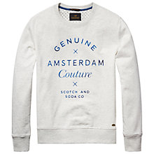 Buy Scotch & Soda Branded Message Sweatshirt, Chalk White Melange Online at johnlewis.com