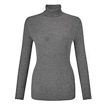 Buy John Lewis Skinny Ribbed Roll Neck Jumper, Grey Marl Online at johnlewis.com