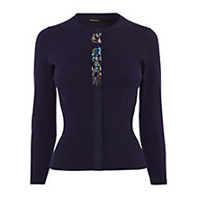 Buy Karen Millen Placed Jewel Cardigan, Blue Online at johnlewis.com