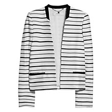Buy Mango Structured Striped Jacket, White/Black Online at johnlewis.com