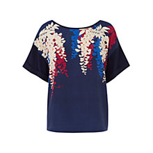 Buy Oasis Lotus Placement Kimono Top, Multi Blue Online at johnlewis.com