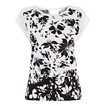 Buy Oasis Floral Patch T-shirt, Black/White Online at johnlewis.com