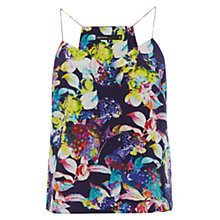 Buy Karen Millen Silk Floral Print Camisole Top, Black Online at johnlewis.com