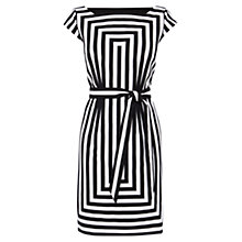 Buy Karen Millen Graphic Stripe Shift Dress, Black/White Online at johnlewis.com