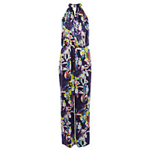 Buy Karen Millen Silk Floral Print Jumpsuit, Black Multi Online at johnlewis.com