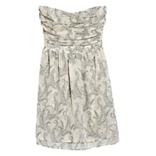 Buy Mango Strapless Printed Dress, Light Beige Online at johnlewis.com