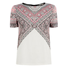 Buy Oasis Paisley Insert T-Shirt, Multi Online at johnlewis.com
