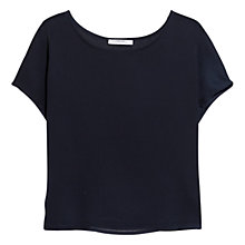 Buy Mango Textured Chiffon Blouse, Navy Online at johnlewis.com