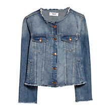 Buy Mango Collarless Denim Jacket, Open Blue Online at johnlewis.com