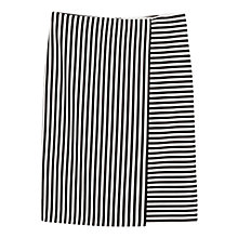 Buy Mango Knee Length Striped Skirt, Black Online at johnlewis.com