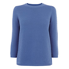 Buy Oasis Honeycomb Stitch Cotton Jumper, Venetian Blue Online at johnlewis.com