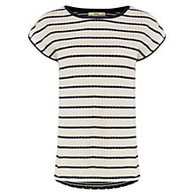 Buy Oasis Lace Wiggle Stripe Top, Cream/Navy Online at johnlewis.com