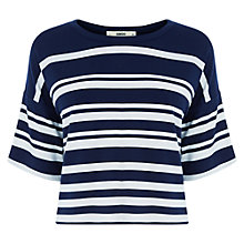 Buy Oasis Engineered Stripe Top, Navy/White Online at johnlewis.com