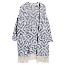 Buy Mango Fringed Jacquard Kimono, Medium Blue Online at johnlewis.com