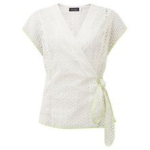 Buy Mint Velvet Brodrais Wrap Top, White Online at johnlewis.com