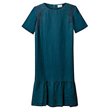 Buy East Embroidered Linen Tunic Dress, Indigo Online at johnlewis.com