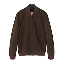 Buy Jigsaw Suede Bomber Jacket, Khaki Online at johnlewis.com