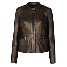 Buy Gerry Weber Faux Leather Copper Print Jacket, Black Online at johnlewis.com