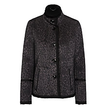 Buy Gerry Weber Faux Shearling Leopard Jacket, Black/Beige Online at johnlewis.com