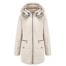 Buy Gerry Weber Faux Fur Trim Hooded Jacket, Beige Online at johnlewis.com
