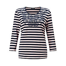 Buy Gerry Weber Stripe Jersey Top, Silver/Wasabi Online at johnlewis.com