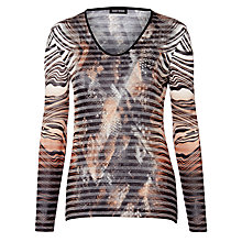Buy Gerry Weber Stripe Burnout Jersey Top, Multi Online at johnlewis.com