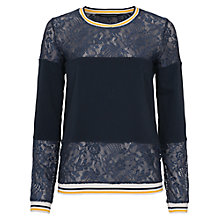 Buy French Connection Hannah Lace Jumper, Utility Blue Multi Online at johnlewis.com