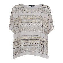 Buy French Connection Jayden Fringe Top, Brule Online at johnlewis.com