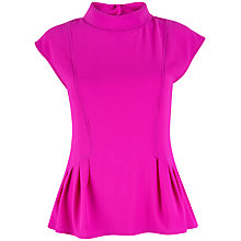 Buy Closet High Neck Button Top, Fuschia Online at johnlewis.com