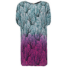 Buy French Connection Sea Fern Silk Dress, Lake Blue Multi Online at johnlewis.com