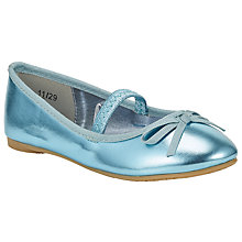 Buy John Lewis Olivia Metallic Ballerina Shoes, Turquoise Online at johnlewis.com