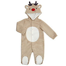 Buy John Lewis Baby's Reindeer Dress Up Romper, Brown Online at johnlewis.com