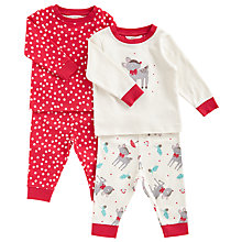 Buy John Lewis Baby's Christmas Deer Pyjamas, Pack of 2, Cream/Red Online at johnlewis.com