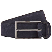 Buy BOSS Calindo Suede Belt, Navy Online at johnlewis.com